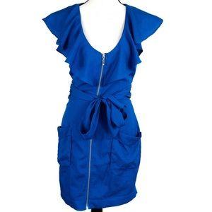 Bebe Scoop Neck Mini Dress Ruffled Size XS Blue